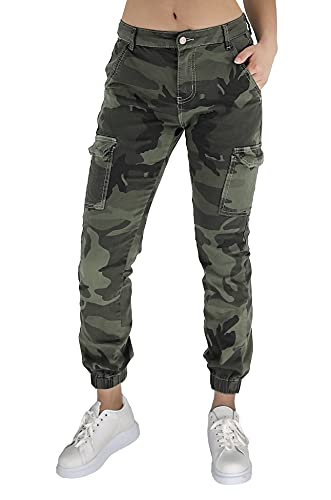 Laphilo Pantalone Militare Mimetici Donna in Comodo Cotone con Tasche (cod. 1021 & 8048) (Verde (cod. 1021), M)