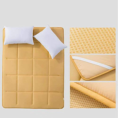 Colchón de Tatami Transpirable, colchonetas 3D, colchón Plegable de Verano japonés Antideslizante Colchón Acolchado de Color sólido Azul 90x200cm (35x79 Pulgadas)