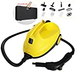 Moongiantgo 2000W High Temperature Pressure Steam Cleaner Multipurpose Steam Mop Home Steam Cleaning Machine with Accessories Storage Box for Floor Carpet Kitchen Tile Car Seat (Yellow)