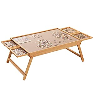 """Puzzle Board, 34"""" x 26"""" Puzzle Table for Adults and Teens, Puzzle Boards and Storage Puzzle Wooden Plateau Lounger with Cover-Smooth Fiberboard Work Surface - Puzzle Storage System, Up to 1,500 Pieces from Rose Home Fashion"""