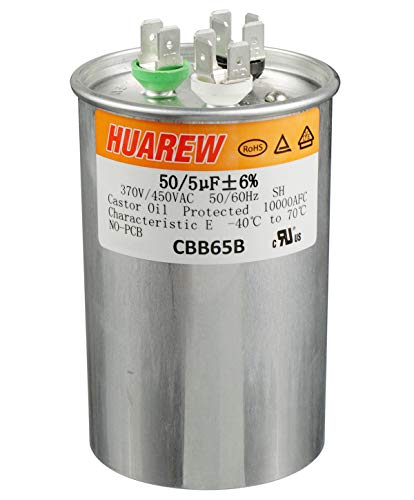 HUAREW 50+5 uF ±6% 50/5 MFD 370/450 VAC CBB65 Dual Run Start Round Capacitor for Condenser Straight Cool or Heat Pump Air Conditioner or AC Motor and Fan Starting