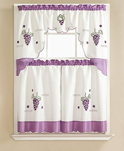 """Gentle Home 3pc Kitchen Curtain and Valance Set/1 Swag Valance and 2 Tiers,2 Tiers Width 30""""x 36"""" Each and The Valance Length 60""""x36"""" (Purple Grape)"""