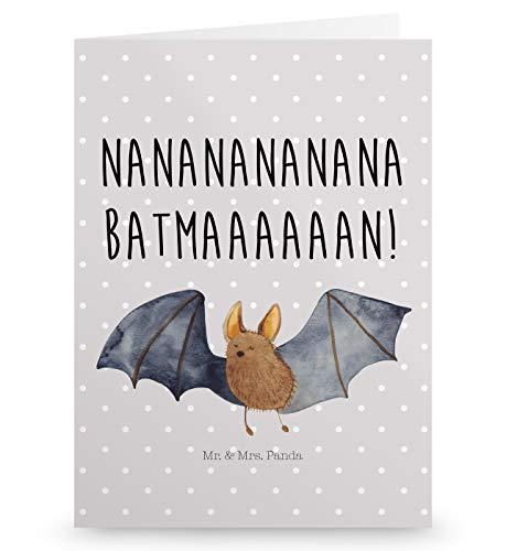 Mr. & Mrs. Panda Einladungskarte, Glückwunschkarte, Grußkarte Fledermaus fliegend mit Spruch - Farbe Grau Pastell