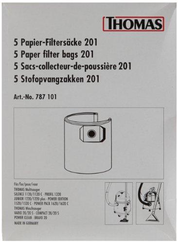 Thomas Lot de 5 sacs en papier 201 pour aspirateur PP 1620 C