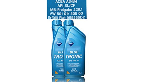 2x 1 L LITER ARAL BLUETRONIC BLUE TRONIC 10W-40 MOTOR-ÖL MOTOREN-ÖL 31736465