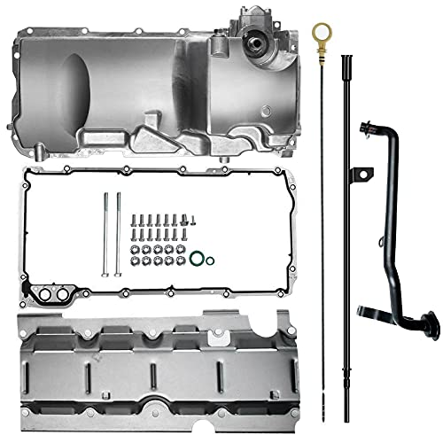 A-Premium Muscle Car Engine Oil Pan Kit Compatible with Chevy GM LS1 LS3 LSA LSX V8 Engine 1955-1995 RWD 19212593 w/Windage Tray & Oil Dipstick & Dipstick Tube & Pickup Tube & Gasket Seals