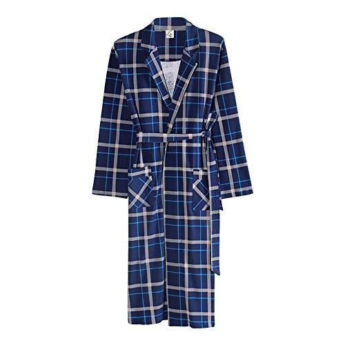 Lzcaure Albornoz para hombre, de algodón turco, kimono para primavera y otoño, para invierno, color azul, talla: XL)