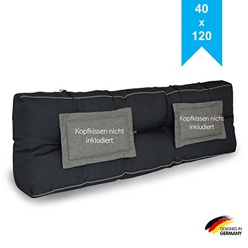 LILENO HOME Palettenkissen Set Anthrazit/Grau - Rückenkissen 120x40x20 cm - Polster für Europaletten - Palettenkissen Outdoor als Sitzkissen für Palettenmöbel