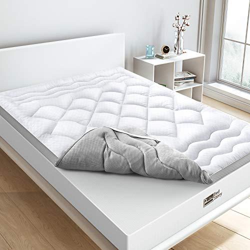 BedStory Topper Colchon Fibra 90x190 CM Sobrecolchón Fibra Anti-ácaros y Transpirable Protectores de Colchón Hipoalergénica Diseño de Malla Blanco
