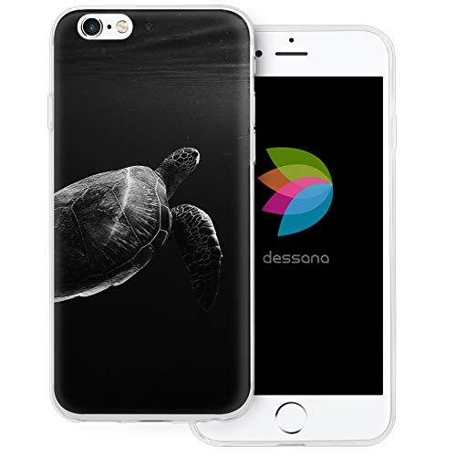 dessana - Cover trasparente per Apple iPhone 6/6S Plus, motivo tartaruga, colore: Nero/Bianco