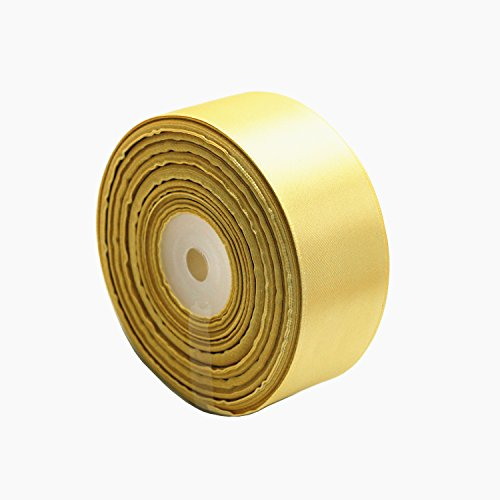 """Model Worker 1-1/2"""" Wide Solid Single Face Satin Ribbon 50 Yards for Wedding Details, Sewing Projects, Gift Wrapping, Invitation Embellishments and Crafting Projects (Champagne)"""