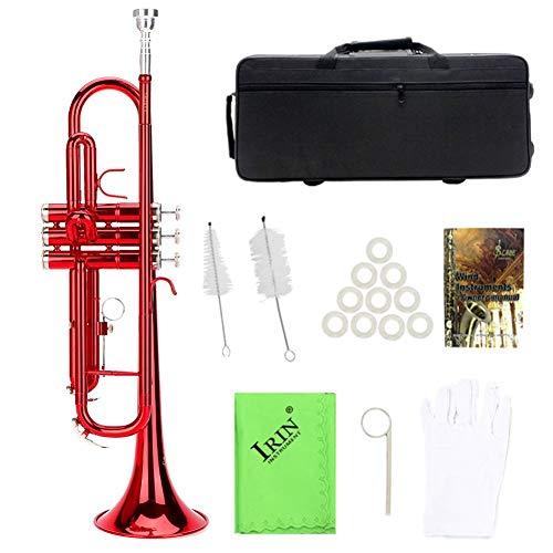 Trompeta de latón, Trompeta Plana Latón para Trompeta Instrumento de Viento Musical en 3 Colores Diferentes(Rojo)