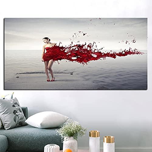 Pintura al óleo póster Pinturas decorativas en lienzo, carteles de mujeres sexis para tomar fotos en la playa, pinturas en la pared, arte, decoración del hogar, pintura en lienzo 60x90cm
