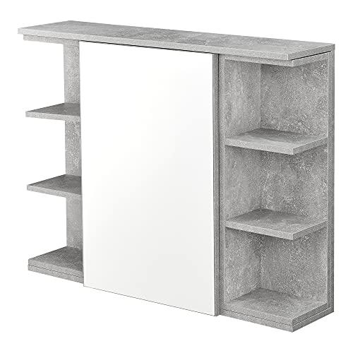 [en.casa] Mueble de Pared para Baño 64 x 80 x 20 cm Armario Colgante de Almacenamiento con Espejo Auxiliar de Baño Efecto hormigón
