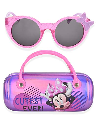 Minnie Mouse Kids Sunglasses for Girls, Toddler Sunglasses with Kids Glasses Case (Purple)
