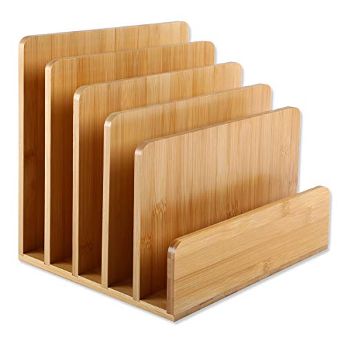 Gräfenstayn® Dokumentenhalter aus Bambus (24,5 x 20, 5x 23 cm) mit 5 Fächern für Papier-ablage, Zeitschriften oder Prospekte