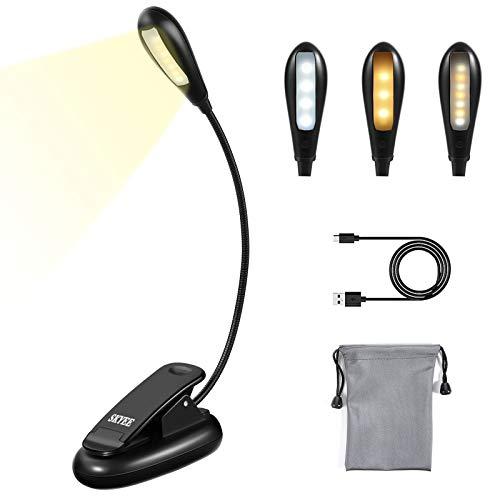 SKYEE Leselampe Buch Klemme, Buchlampe Aufladbar 7 LED Klemmleuchte mit 9 Helligkeitsstufen 3 Lichtfarben (Warmes, Weißes & Warmweißes), USB-Ladekabel, für Buch, Bett, Laptop, Computer