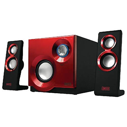 Combusters Designer Soundsystem 2.1 Lautsprecher System für Fernseher Pc Computer Smartphone Handy Laptop Notebook Gamer Gaming TV Box Boxen mit Subwoofer schwarz rot Lautsprechersystem