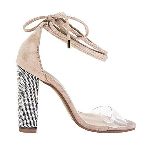 Damen High Heels Sandalen Transparente Peep Toe Sandalen Knöchel Schnalle Party Freizeit Hochzeit Abend Sommer Schuhe Nude Color 36 EU