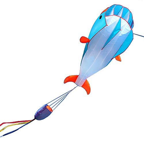 Momangel NiñOs Creativos De Juguete Al Aire Libre, Cometa De Ballena Suave En 3D Cometa De Animales De Dibujos Animados EstéReo con Una Bobina De 30 M Blue