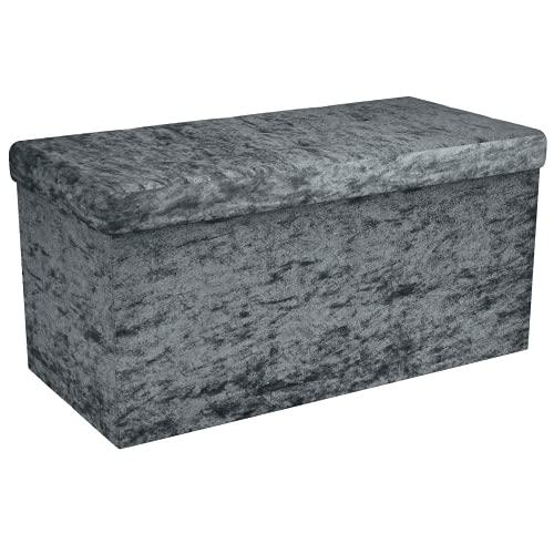 Intirilife Faltbare Sitzbank 76x38x38 cm in Samt Grau - Sitzwürfel mit Stauraum und Deckel mit Samtbezug - Sitzcube Fußablage Aufbewahrungsbox Truhe Sitzhocker