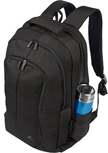 """RIVACASE Notebook Rucksack bis 17.3"""" - Elegante Tasche mit Trolley Befestigung & zwei speziellen Fächern für Wasser - Schwarz"""