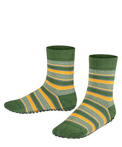 FALKE Unisex Kinder Mixed Stripe Hausschuh-Socken, grün (palme 7391), 31-34