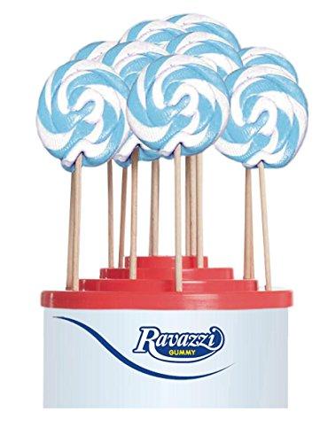 Lecca Lecca Rainbow Azzurro Bianco. Confezione da 50pz x 25gr Ravazzi Gummy. Ideale per Feste di Compleanno e Caramellate.