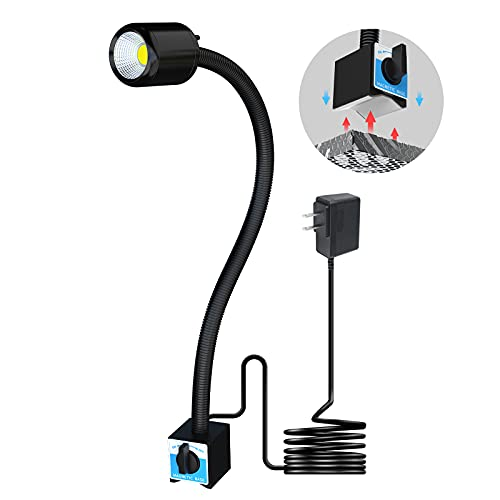Magnetic Machine Work Light, IP65 Water Proof Flexible Gooseneck Lamp 1000 Lumens 110V for Lathe Milling Drill Press Industrial Lighting