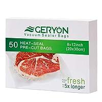 GERYON 真空シーラーバッグ プレカット食品シーラーバッグ クオート サイズ 8インチ x 12インチ 食品保存 真空調理用 50枚