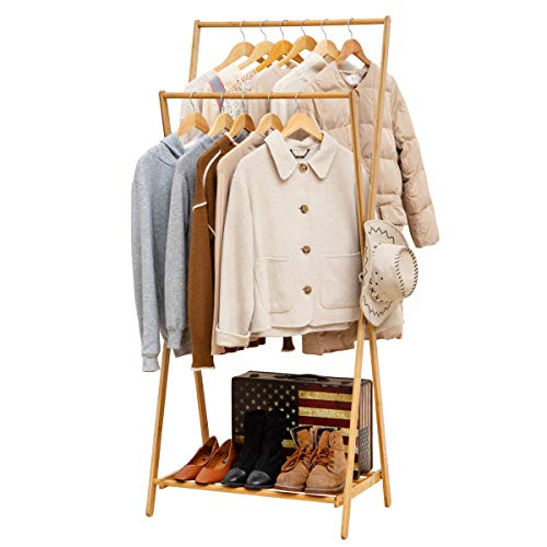 mDesign Tall Vertical Bamboo Foldable Laundry Drying Rack - Compact, Portable and Collapsible for Storage - Large Capacity for Laundry Room - Espresso Brown