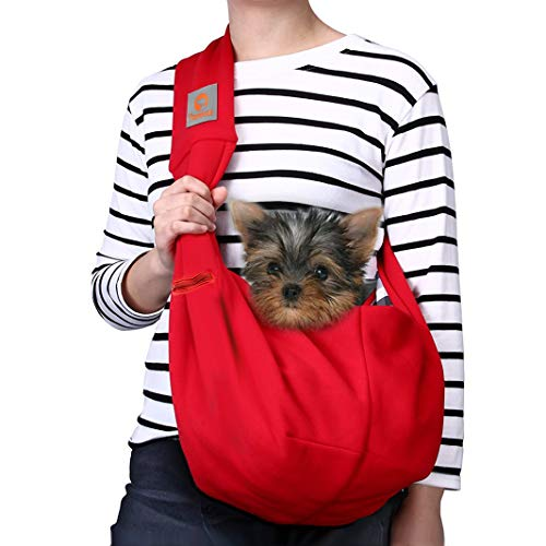 TOMKAS Small Dog Cat Carrier Sling Hands Free Pet Puppy Outdoor Travel Bag Tote Reversible (M - Unadjustable for 3-10 lbs, Red)
