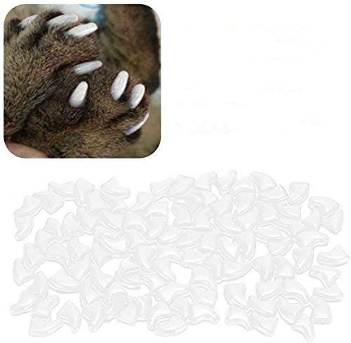 Atyhao Cat Nail Caps, 100Pcs Soft Cat Protector de Cubierta de uñas con Pegamento para Gatos Kitten Safe Anti Scratch(White S)