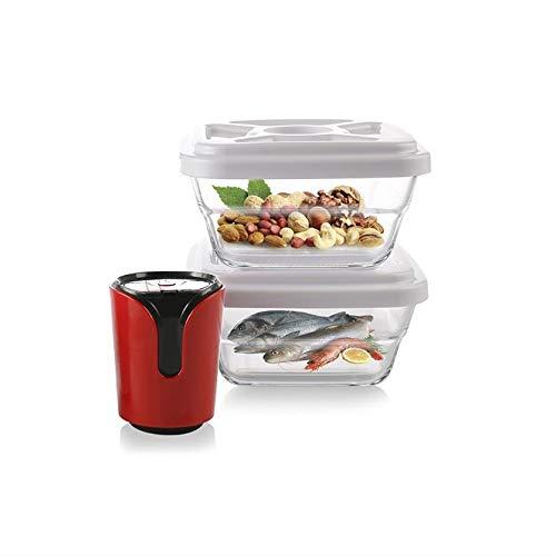 Larew Juego de 3 recipientes herméticos con tapa y asa, apilables, para cocina o restaurante (con máquina de vacío)