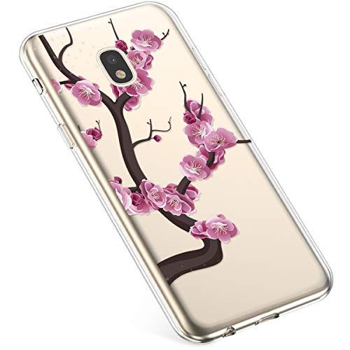 Coque pour Samsung Galaxy J7 2017 Silicone Etui,Uposao Galaxy J7 2017 Coque Transparent avec Motif Fleur Crystal Clear Case Premium Semi Hybrid Ultra Mince Slim Soft TPU Antichoc Bumper,Fleur Rose