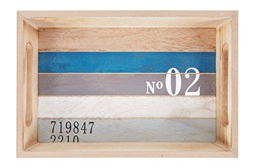 HEITMANN DECO - Holz-Tablett maritim - tolle Tischdeko - Dekoration für Haus und Wohnung - Maritime Deko