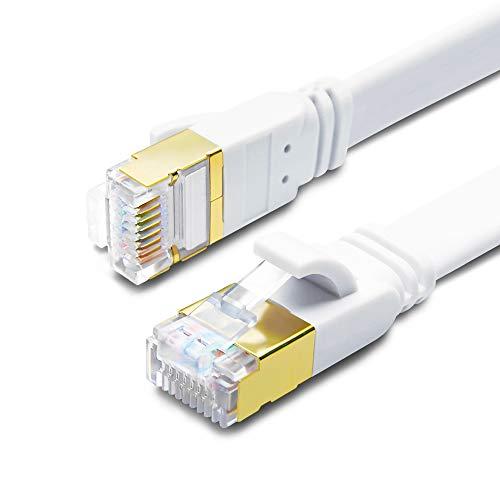 Cavo Ethernet, Patch e di Rete Connettori RJ45, per la Massima Velocità di Trasmissione della Fibra Ottica, Ideale per reti Gigabit/LAN, Router/Modem, Switch(Bianca, 2M-2 Pezzi)