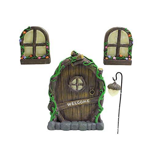 Bioaley 4 Pieces Fairy Door Garden Home Ornament Tree Face Decoration 3D Door Miniature Window Mysterious Door Sculpture