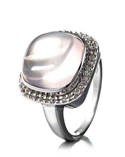 Silvancé R8970RQ_SSR - Anello da donna in argento 925 rodiato, con vera gemma di quarzo rosa, circa 7,27 carati e Argento, 54 (17.2), cod. R8970RQ_SSR_17