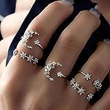 LYWZX Anillo Mujer Ajustable Moda White Star Moon AAA Zircon Open Ring Set para Mujeres Damas Niñas Fiesta De Cumpleaños Regalos De Boda Jewelry-Resizable_A