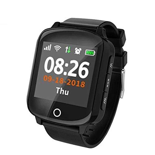 ZHANGYANG Smart Watch per Anziani GPS + LBS + WiFi Posizionamento Anti-Perso Frequenza cardiaca Monitor della Pressione sanguigna Allarme Caduta IP68 Pedometro Impermeabile-Nero