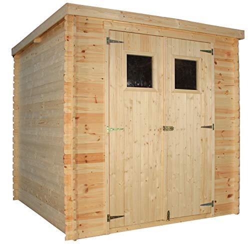 TIMBELA M309 Sommerhaus aus Holz im Freien - Kiefern- / Fichtenschuppen - Flachdach - H200 x 204 x 204 cm / 3,53 m2