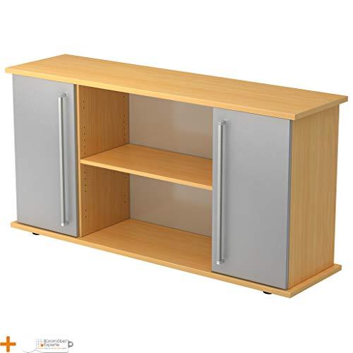 Kantoormeubel Expert dressoir kantoorkast archiefkast houten deuren 3 planken Chromgriff beuken-zilver