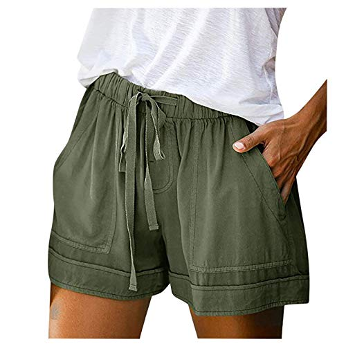 FMYONF Pantalones cortos informales para mujer, para verano, tiempo libre, deportes, yoga, con goma elástica, tallas S-5XL, Verde militar., L