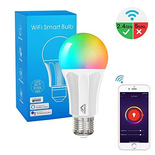 MoKo Smart WLAN Led Lampe, E27 9W Dimmbar Glühbirne Mehrfarbige RGB Licht, WiFi Birne mit APP-Fernbedienung und Sprachsteuerung, Kompatibel mit Alexa Echo Google Home, ohne Hub Benötig