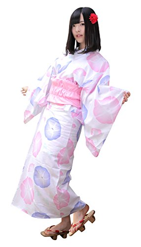 BIBILAB 2017 Raku-Yukata(Easy-Yukata) Womens Ladies Sleepwear (ビビラボ) らく浴衣 朝顔 かんたん着付け&動きやすい WCL-M-WH (Asagao-flower(White))