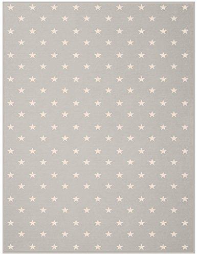 Biederlack Wohn- und Kuscheldecke, 60 % Baumwolle, Veloursband-Einfassung, 150 x 200 cm, Silber, Orion Cotton Texas Stars, 653109