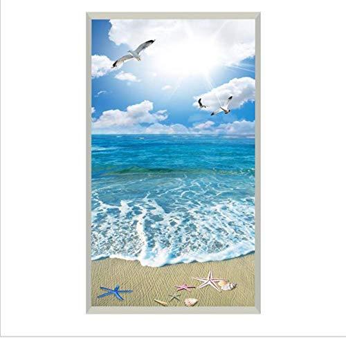 YFXGSTLI Kreative Türaufkleber DIY PVC wasserdichte Selbstklebende Wandbild Blauer Himmel Weiße Wolken Strand Meerblick 3D Fototapete Aufkleber 77X200 cm