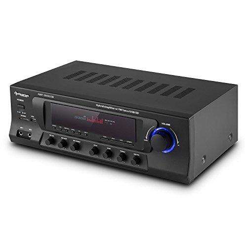 auna AMP-3800 USB Black Edition - Receptor HiFi , Receptor Surround 5.1 , Amplificador Home-Cinema , 600W , 2 entradas micrófono , USB SD FM , Ecualizador , Control Remoto , Negro