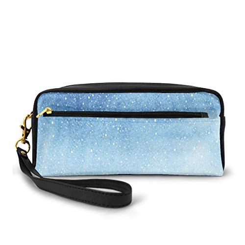 Pencil Case Pen Bag Pouch Stationary,Falling Snow Splashes Stains of Watercolors Shades of Blue Abstract Christmas Inspired,Small Makeup Bag Coin Purse